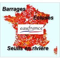 Carte de France des barrages, écluses, seuils
