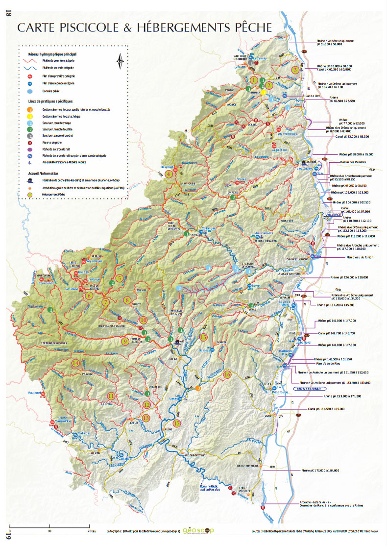 carte de peche ardeche Ardèche (07)   Coins de pêche (lacs, rivières, eau douce et eau